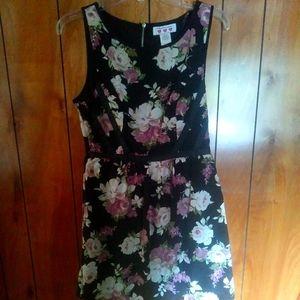 Three Pink Hearts blue black floral dress